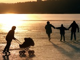 Skaters on the Frozen Lake Pilsensee Photographic Print