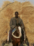 A Chadian Man Transport Hay Photographic Print