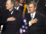 President Bush and His Father, Former President Bush, Put Their Hand Over Their Hearts Photographic Print