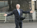 President Bush Departs in the Rain at Boeing Field in Seattle Photographic Print