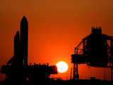 The Space Shuttle Discovery Nears the End of a Six Hour Journey from the Vehicle Assembly Building Photographic Print