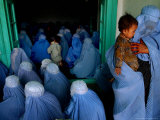 Afghan Women Wearing Burqas Listen to a Speech by Presidential Candidate Massooda Jalal Photographic Print