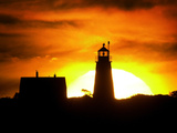 The Morning Sky is Set Ablaze by the Rising Sun Behind Wood Island Light Photographic Print