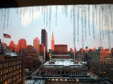 After Day of Rain and Snow, Icicles Form Along a Window Overhang Photographic Print
