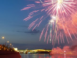 Fireworks Explode Above the Moscow River During a Yacht Show Photographic Print
