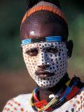 Karo Warrior in Traditional Body Paint, Ethiopia Fotografie-Druck von Janis Miglavs