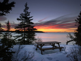 The First Light of Dawn Colors Wispy Clouds Across Narraguagus Bay at Mcclellen Park Photographic Print