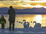 A Mother and Child Feed Water Fowl on the Ice Covered Shores of Lake Chiemsee Photographic Print