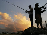 Acehnese Men Fish During Sunset at Ulee Lheue Beach in Banda Aceh, Indonesia Photographic Print