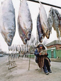 A Woman Selling Dried Fish Waits for Customers on the Outskirts of Rostov-On-Don Photographic Print