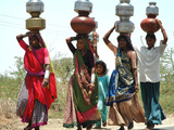 Women Carry Water at Lat Village Photographic Print