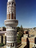 The Minaret of a 15th Century Mosque Rises Above a San'a, Yemen Neighborhood Photographic Print