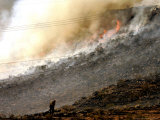 A Firefighter Stands Near a Hill were One of Many Wildfires Burn Near St. George Photographic Print