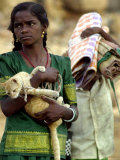 Girl Carries Her Pet Photographic Print