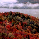Mist Lingers Over Lobster Lake as Trees Show off Their Splendid Colors During Peak Fall Foliage Photographic Print