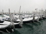 Gondolas are Covered by Snow in Venice, Italy Photographic Print