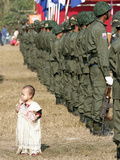 A Young Karen Child Seems Lost in a Karen Army Formation Photographic Print