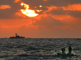An Israeli Warship, Rear, Patrols on the Horizon as Palestinian Fishermen Photographic Print