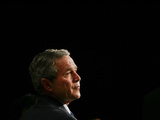 President Bush Listens to Statements Photographic Print