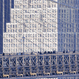 Manhattan Bound Pedestrians Cross the Brooklyn Bridge Photographic Print