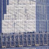Manhattan Bound Pedestrians Cross the Brooklyn Bridge Photographic Print