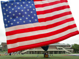 The United States Flag Hot Air Balloon is Inflated at Stevens Institute of Technology Photographic Print