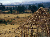 Hut Construction Above the Flatlands, Omo River Region, Ethiopia Photographic Print by Janis Miglavs