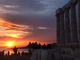 Tourists Stand Outside the Temple of Poseidon at Cape Sounion Photographic Print