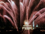 Fireworks Cascade Over the Lincoln Memorial Photographic Print