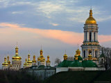 The Gold-Crusted Domes of the 11th Century Monastery of Caves Photographic Print