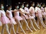 Children Learning Ballet Lessons Wear Masks Photographic Print