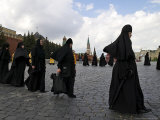Orthodox Nuns Walk in a Religious Procession to Mark the Day of St. Cyril and Methodius Photographic Print