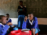 Children Eat Lunch Provide by the Millennium Village Project Photographic Print