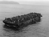A Barge Packed with Vietnamese Refugees from Danang is Towed to the SS Pioneer Contender, Photographic Print
