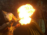 A Member of the Mocidade Samba School Spits Fire Photographic Print