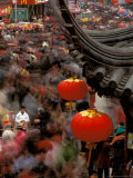 New Years Crowd Winds Beyond the Confucious Temple, Nanjing, Jiangsu Province, China Photographic Print by Charles Crust