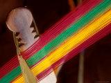 Kente Cloth Being Woven on Loom, Bonwire, Ghana Fotografie-Druck von Alison Jones