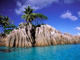 Granite Outcrops, La Digue Island, Seychelles, Africa Fotografisk tryk af Pete Oxford