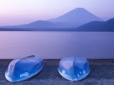 Rowboats on Motosu Lake with Mt. Fuji in the Background, Yamanashi, Japan Photographic Print by Rob Tilley