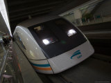 Meglev Train Prepares to Depart Airport Train Station, Shanghai, China Photographic Print by Paul Souders