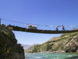 Hanging Bridge Across the River, Shigatse, Tibet, China Photographic Print by Keren Su