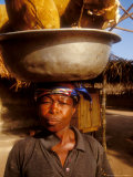 Woman Carrying Pan Filled with Baobab Fruit, Boku, Ghana Photographic Print by Alison Jones