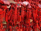 Placques Adorn the Fence of the Four Gates Buddhist Temple, Shandong Province, Jinan, China Reproduction photographique par Bruce Behnke