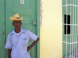Portrait of Man, Old Colonial Village, Trinidad, Cuba Photographic Print by Bill Bachmann