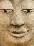 Smiling Buddha Head Statue, Temple, Bangkok, Thailand, Photographic Print by Philip Kramer