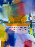 Buddhist Stupa Viewed Through Prayer Flags at Night, Kathmandu, Nepal Photographic Print by Philip Kramer