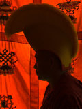 Silhouette of a Monk Wearing a Traditional Hat, Kathmandu, Nepal Photographic Print by Philip Kramer