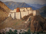 Potala Wall Painting, Tibet Photographic Print by Vassi Koutsaftis