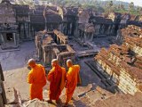 Monks Overlook Angkor Wat, Cambodia Photographic Print by Tom Haseltine
