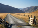 Cattle Stop and Gravel Road, Ahuriri Valley, North Otago, South Island, New Zealand Photographic Print by David Wall